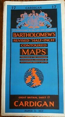 """Collectable Vintage """"Cardigan"""" Sheet 17 Revised """"Half Inch"""" Map By Bartholomews"""