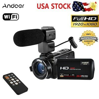 Andoer WiFi FULL HD IPS 1080P 24MP Digital Video Camera DV Camcorder S1A5