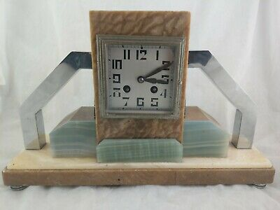 Stunning Art Deco Fritz Marti Paris Marble Mantle Clock