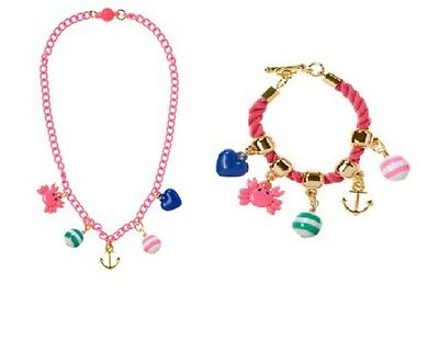 Gymboree Stripes & Anchor Necklace Bracelet Set Girl Nautical Jewelry Crab Beads