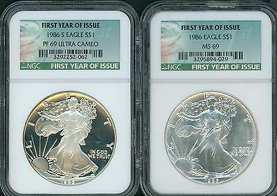 1986 & 1986-S SILVER EAGLE SET NGC MS69 PF69 PR69 FIRST YEAR of Issue TAG !!!!!!