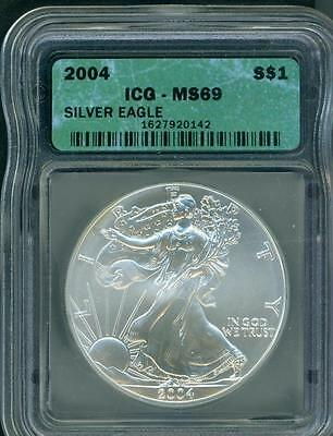 2004 American Silver Eagle ASE S$1 ICG MS69 MS-69 BEAUTIFUL