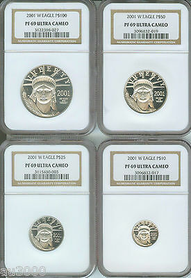 2001-W 4coin SET $100 50 25 10 PROOF PLATINUM EAGLE STATUE LIBERTY NGC PR69 PF69