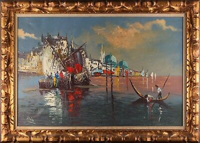 "Italian Listed Artist Vintage Impressionist Oil Painting ""Fishing Boat"" Signed"