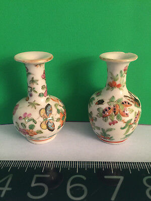 TWO Antique Chinese Canton Famille Rose Porcelain MINIATURE VASES c.Late1800's