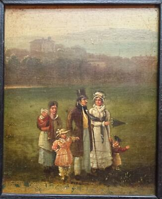 FAMILY IN A PARK - STUNNING ORIGINAL EARLY 19th CENTURY GEORGIAN OIL ON PANEL