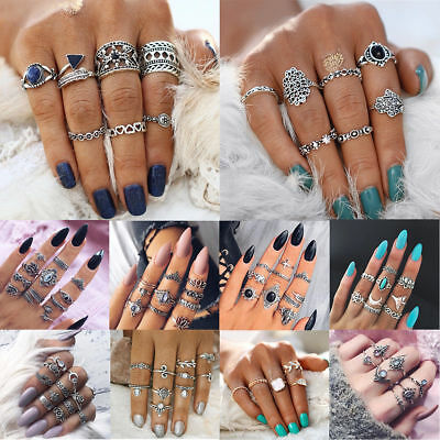 Bohemian Vintage Women Silver Elephant Turquoise Finger Rings Punk Ring Jewelry