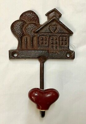Cast Iron House with Red Ceramic Heart Wall Coat Hook - Home.