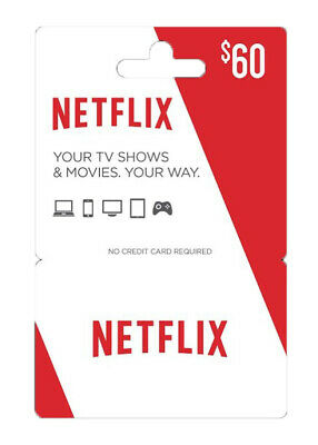 $60 Netflix Gift Card-SENT EMMIDIATLY ON YOUR EMAIL-