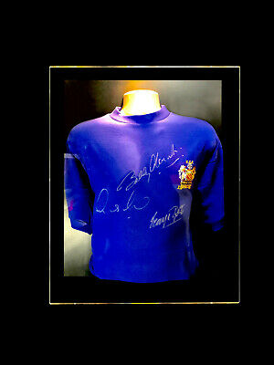 d44f4de46 Law Charlton George Best Signed Manchester United Shirt Display Coa Holy  Trinity