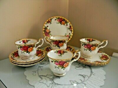 Four Royal Albert Old Country Roses Trio's