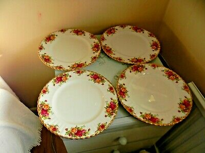 """Four Royal Albert Old Country Roses Dinner Plates - 10.5"""""""