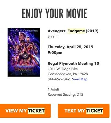 Avengers Endgame 2D 1 Ticket April 25th Regal Plymouth Meeting 10 PHL 9pm