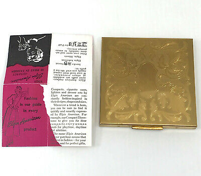 Elgin American Powder Compact w Pamphlet Unused Etched Signed Puff 1940s 50s Vtg