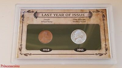 Last Year Of Issue Of Lincoln Wheat Penny & Silver Jefferson Nickel Collection