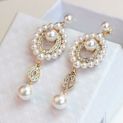 Fashion Women Rhinestone Pearl Long Wedding Bridal Party Drop Stud Earrings Gold