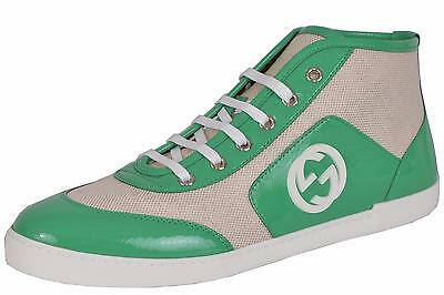 9decacaa111 NEW GUCCI WOMEN S 388015 Neon Leather GG High Tops Trainers Sneakers ...
