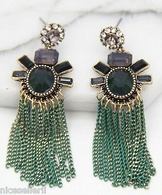 BOHO Fashion Green Crystal Ear Drop Dangle Stud long Ancient Silver Earrings 273