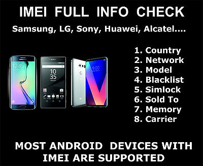 Full IMEI Check Service, Samsung, LG, ZTE, Sony, Carrier, Country, Simlock