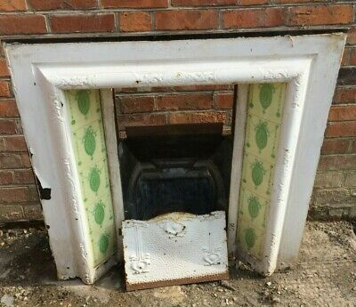Victorian Fireplace With Green Pattern Tiles 96cm High 98cm Wide 30cm Deep