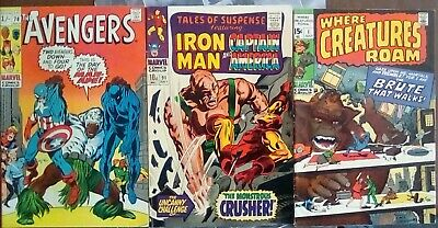VINTAGE MARVEL COMICS x 3, (Includes AVENGERS # 78, & TALES OF SUSPENSE # 91, )