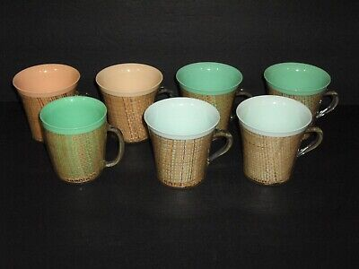"""Vintage 1960's Raffiaware 3 3/4"""" Thermal Assorted Color/Style Cups set of 7 USA"""