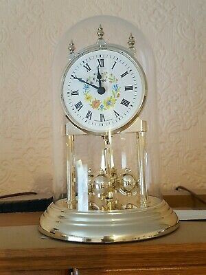 Vintage Brass Kundo Kieninger Obergfell Dome Clock Mother Pearl Face.