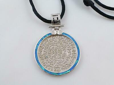 925 Sterling Silver Opal Phaistos Disk Pendant Black Cord Necklace