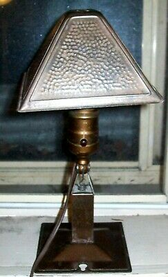 """Signed Greist Arts& Crafts Mission Style Hammered Shade Adjustable """"Clamp Lite"""""""