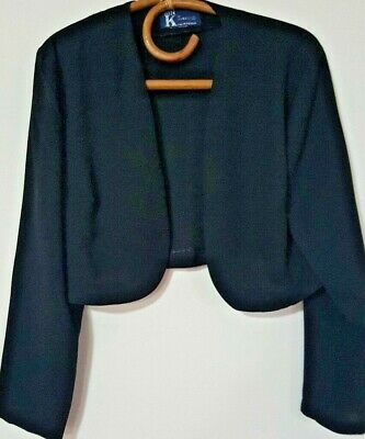Vintage Dressy Mr K Bolero/crop Lightweight Jacket~ Black Size M
