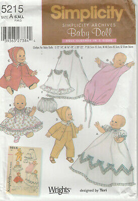 "Baby Doll Clothes Pattern 12"" to 22"" Dress Coat Hat more Uncut Simplicity 5215"