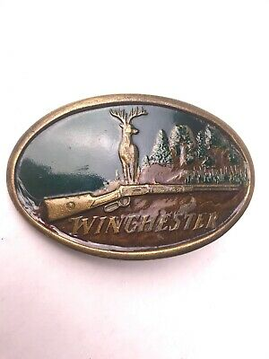 Vintage 1970s Winchester Belt Buckle Indiana Metal Craft