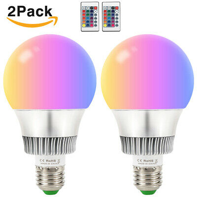 2x 10W E27 LED RGB Light Bulbs 16 Color Changing Magic Lamp Remote Colored Bulb