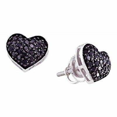 14k White Gold Over 1.10 CT Round Cut Black Diamond Heart Shape Stud Earrings