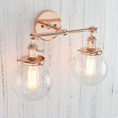 Double Sconce Vintage Industrial Antique 2-Lights Wall Sconces w/ Dual Mini 5.9""