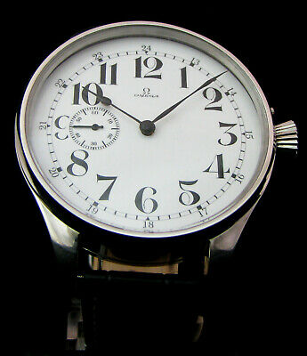 OMEGA ANTIQUE 1914 Large Steel Watch Enamled DIAL