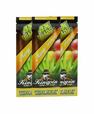 3x Kingpin Hemp Wraps - Mango Tango - 4 Per Pack - FASTEST SHIPPING ANYWHERE