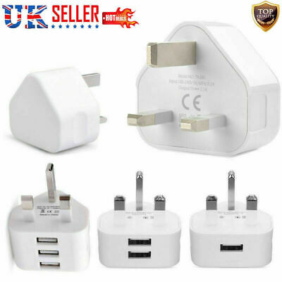 3 Pin USB Plug Power Adaptor Mains Travel Wall Charger For Mobile Smart Phone UK