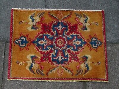 Old Hand Made Traditional Persian Rug Oriental Wool Yellow Small Rug 52x71cm
