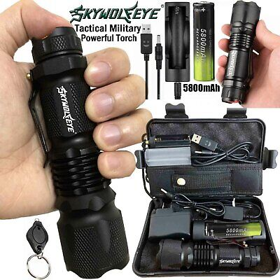 Sky Wolf Eye  Zoom 100000LM Tactical Military T6 LED Flashlight Torch Work Light