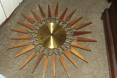 VINTAGE RETRO  Sunburst Starburst Mid Century 1960's Large Brass and Teak Clock