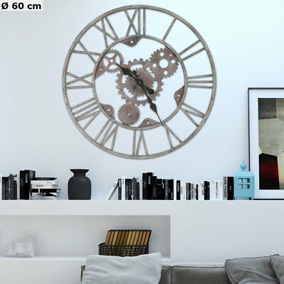 Retro Wall Clock Grey Silver Roman Numerals Gearwheel Time Display Analogue D