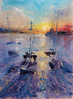 Original Oil Painting, Skerries Strand Harbour Sunset. Irish Art BO'Brien