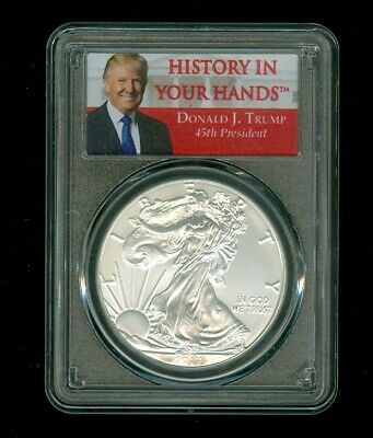 2017 Donald J. Trump History In Your Hands 45th  PCGS MS69 Silver Dollar Eagle