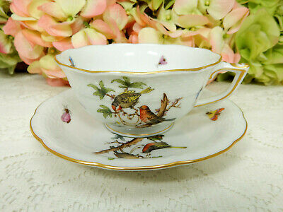 Beautiful Herend ROTHSCHILD Bird RO6 734 Porcelain Cup & Saucer