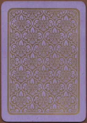 Playing Cards 1 Single Swap Card Antique Wide GEOMETRIC ART FLOWERS Gold Purple