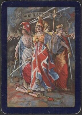 Playing Cards 1 Single Swap Card Old Antique Wide WW1 Named FOR HONOUR Britannia