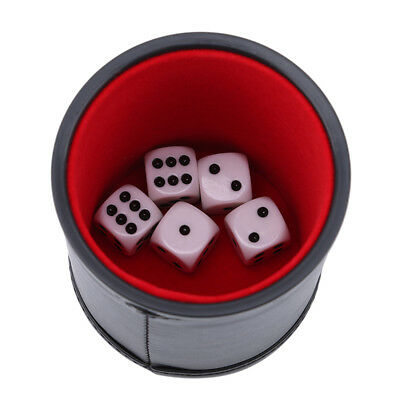 PU Leather High Quality Dice Cup + 5pcs White Dice Set Entertainment Game DB