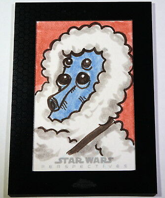 2014 Topps Star Wars Chrome Perspectives Muftak Sketch Card by JASON