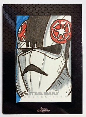 2014 Topps Star Wars Chrome Perspectives AT-AT Pilot Sketch Card by JASON